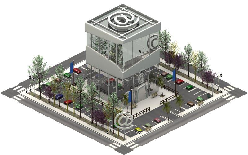 Isometriska stadsbyggnader, parkeringsplats med IT-datorföretaget framförande 3d vektor illustrationer