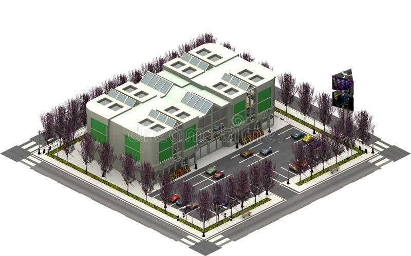 Isometriska stadsbyggnader, parkeringsplats med shoppinggallerian framförande 3d stock illustrationer