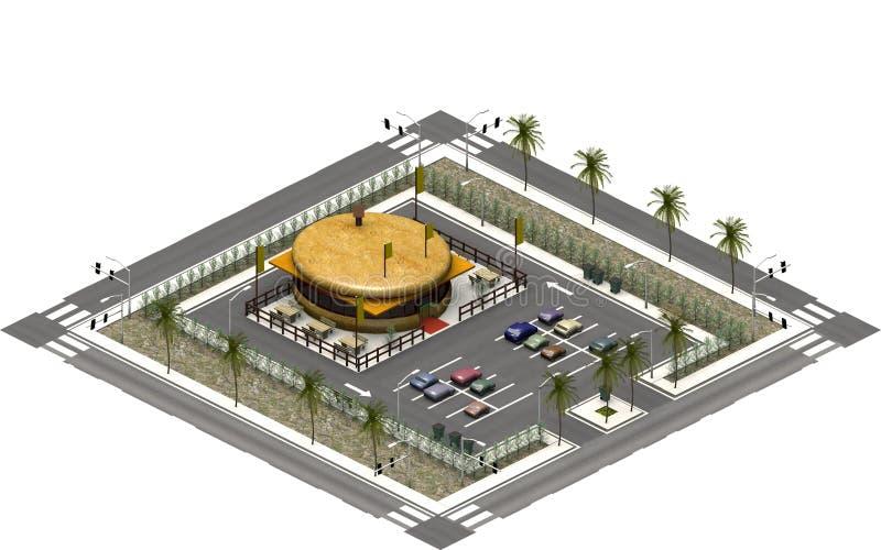 Isometriska stadsbyggnader, parkeringsplats med snabbmatrestaurangen framförande 3d vektor illustrationer