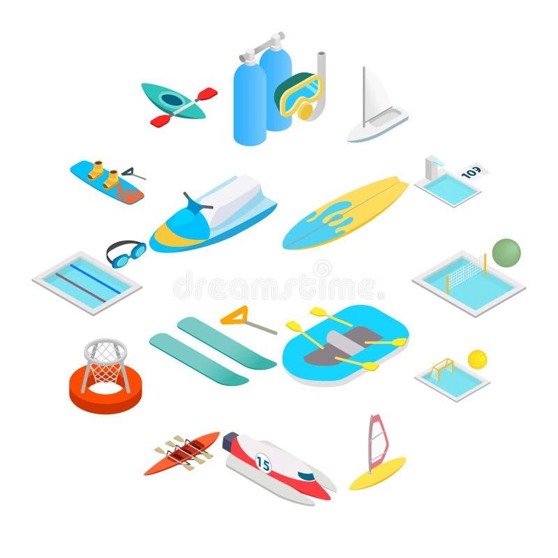 Isometriska symboler 3d för vattensport stock illustrationer