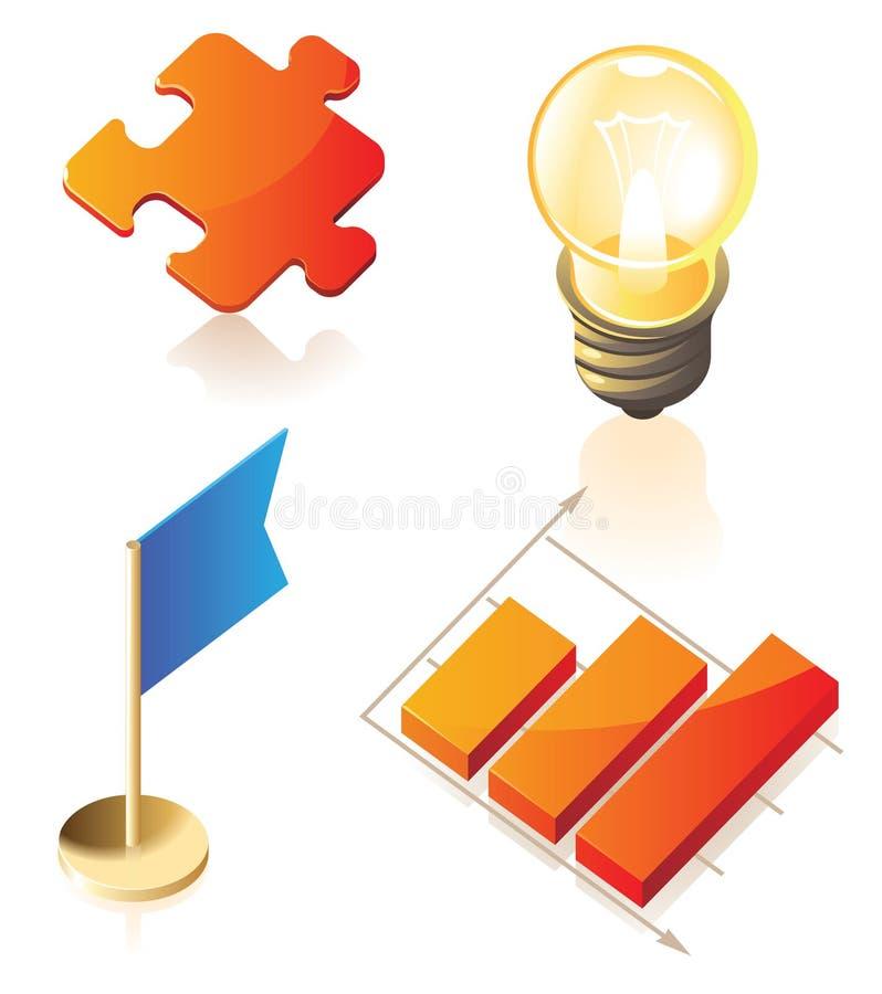 isometriska symboler för affärssymboler stock illustrationer