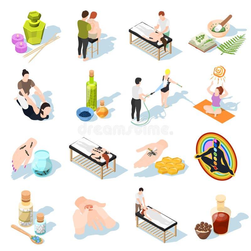 Isometriska symboler för alternativ medicin royaltyfri illustrationer
