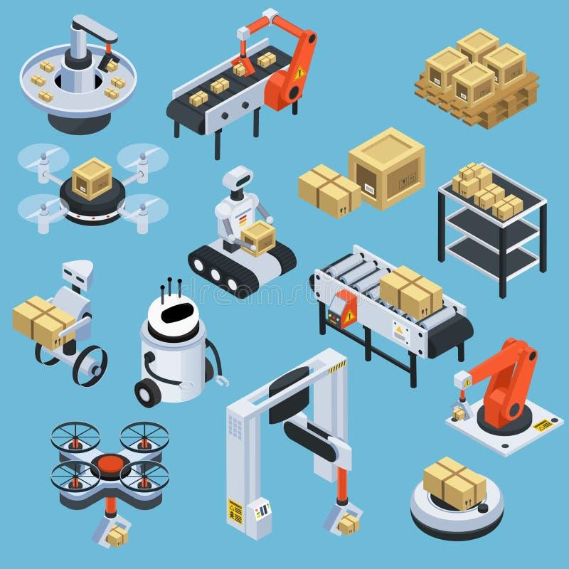 Isometriska symboler för automatisk logistikleverans royaltyfri illustrationer