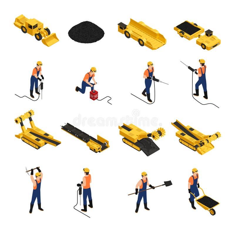 Isometriska symboler för coalmining stock illustrationer