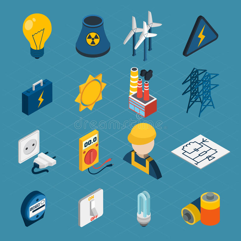 Isometriska symboler för elektricitet vektor illustrationer