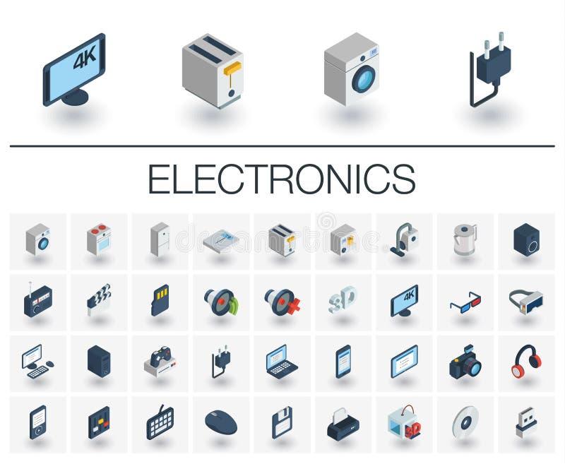 Isometriska symboler för elektronik och för multimedia vektor 3d vektor illustrationer