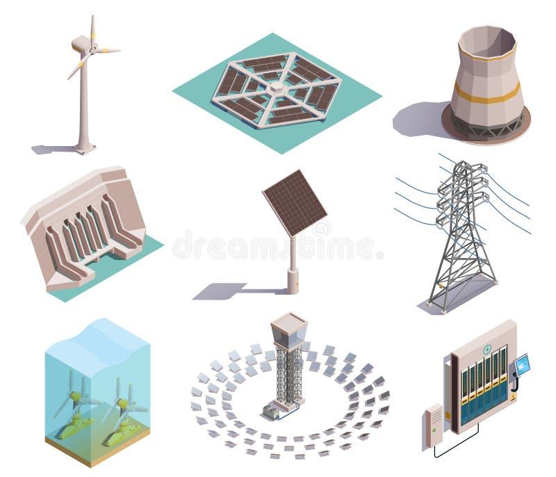 Isometriska symboler för grön energi royaltyfri illustrationer