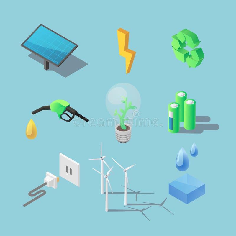 Isometriska symboler för grön energi Ekologiiocnsuppsättning Vektorillustration för förnybara resurser fotografering för bildbyråer