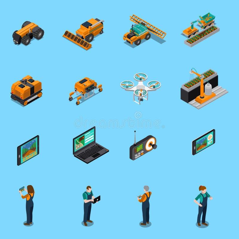 Isometriska symboler för jordbruks- robotar stock illustrationer