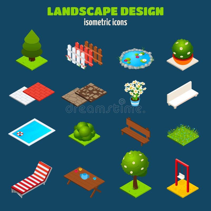 Isometriska symboler för landskapdesign stock illustrationer