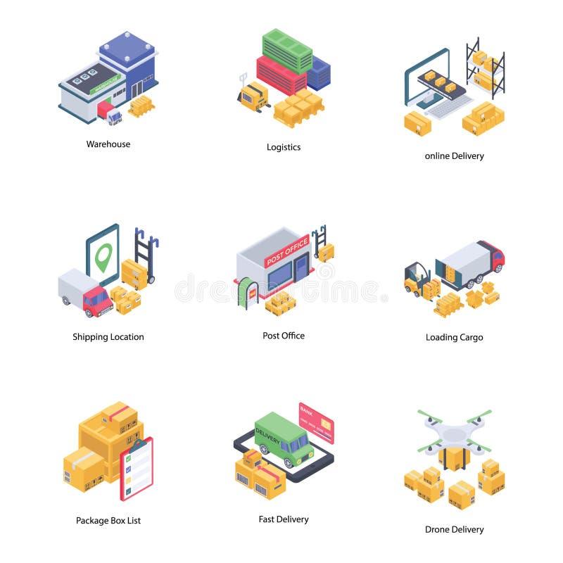 Isometriska symboler för logistisk leverans stock illustrationer
