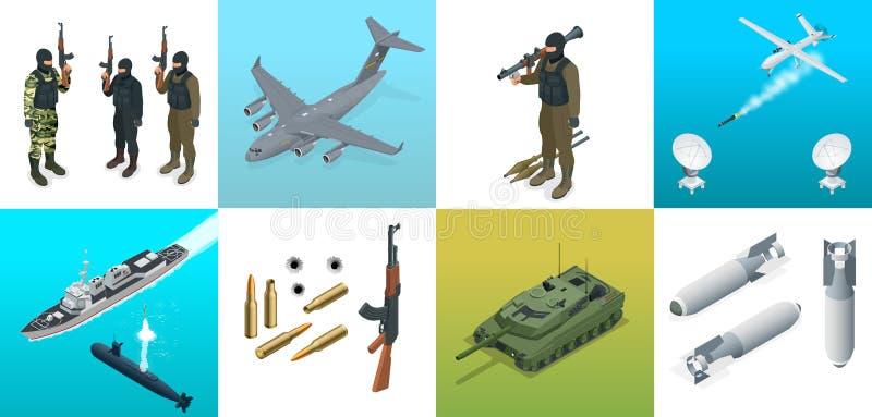 Isometriska symboler ubåten, flygplan, tjäna som soldat Uppsättning av transport för militärfordon för militär utrustninglägenhet royaltyfri illustrationer