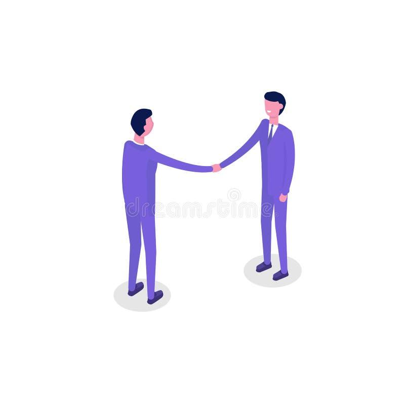 Isometriska tecken för affärsfolk, kollega begrepp som förbinder för partnerskappussel för fyra händer teamwork Plan isometrisk v royaltyfri illustrationer