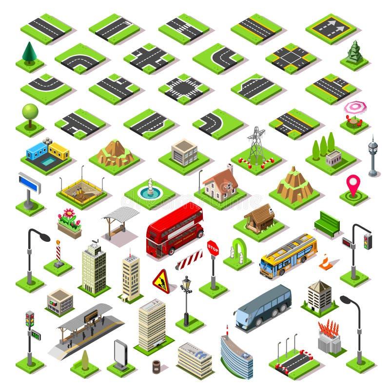 Isometriska tegelplattor för stadsöversiktsuppsättning 01 stock illustrationer