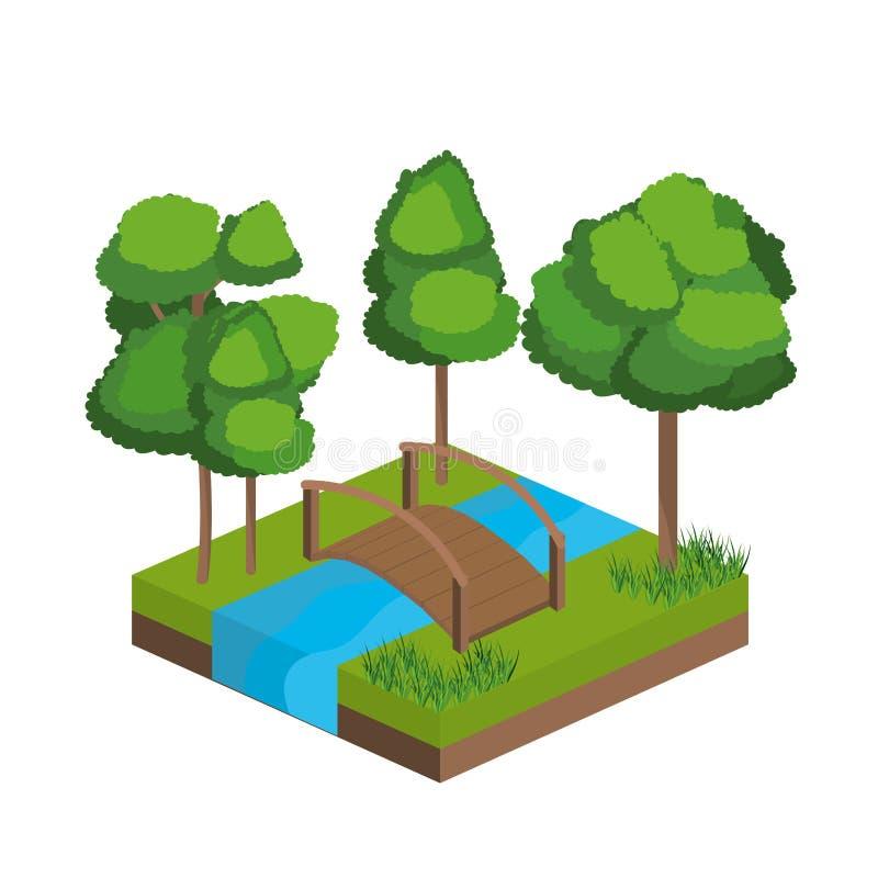 Isometriska träd och floddesign vektor illustrationer