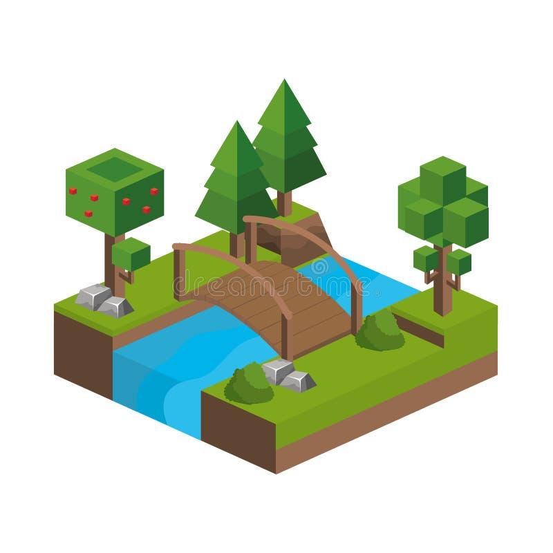 Isometriska träd och floddesign royaltyfri illustrationer