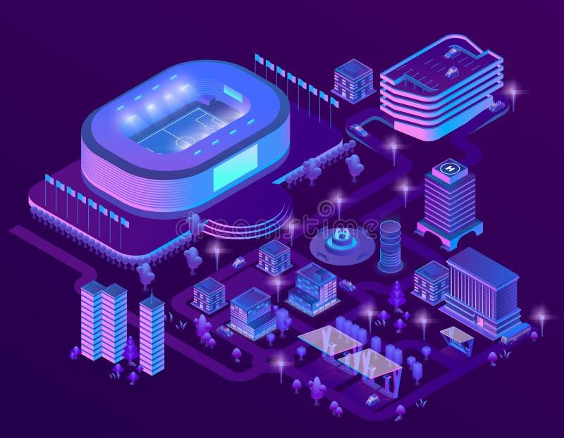 Isometriska ultravioletta megapolis för vektor 3d med stadion royaltyfri illustrationer