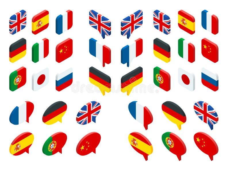 Isometriska uppsättningflaggor av världen Den isolerade vektorn sjunker symboler vektor illustrationer