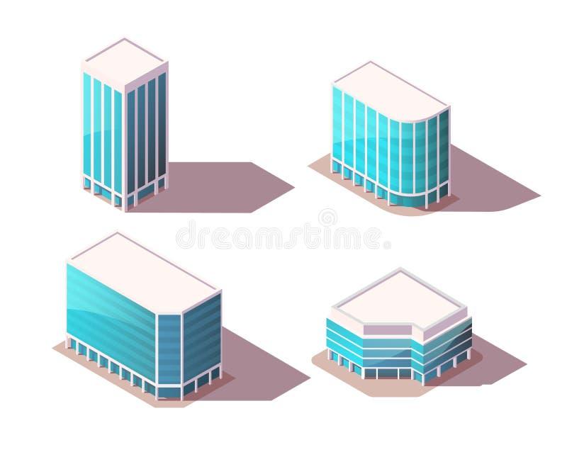 Isometriska uppsättningkontorsbyggnader för vektor med realistiska skuggor Högkvalitativa stadsbeståndsdelar för översikt Låg pol arkivfoto