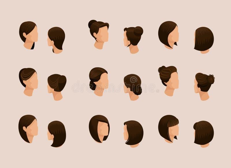 Isometriska uppsättningkvinnors frisyrer, hårstil vektor illustrationer