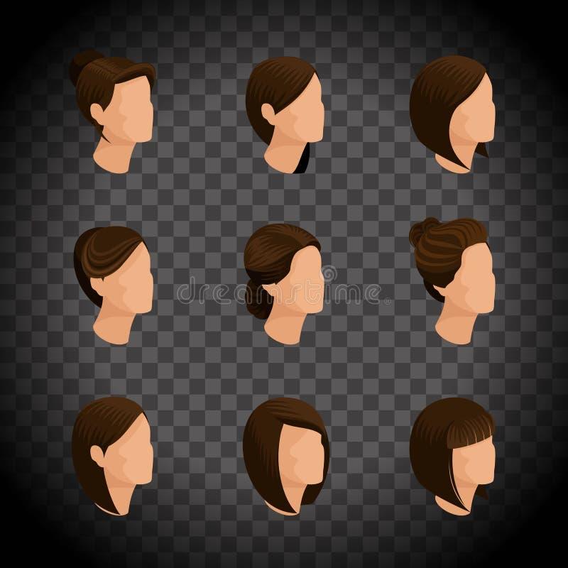 Isometriska uppsättningkvinnors frisyrer, hårstil royaltyfri illustrationer
