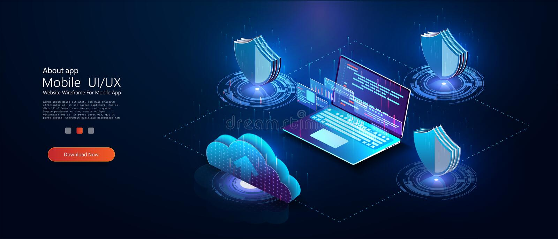 Isometriska utveckling och programmera för program stock illustrationer