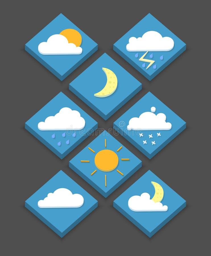 Isometriska vädersymboler, 3D, vektorillustration, modern stil, vektor illustrationer