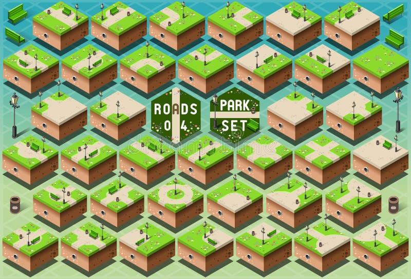 Isometriska vägar på grön stad parkerar royaltyfri illustrationer