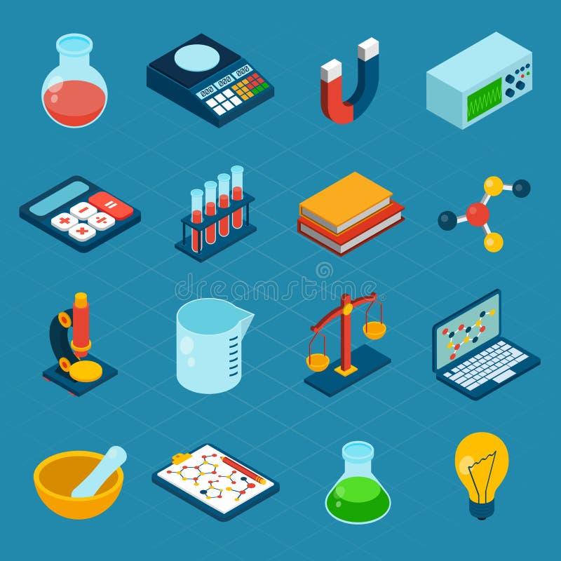 Isometriska vetenskapssymboler stock illustrationer