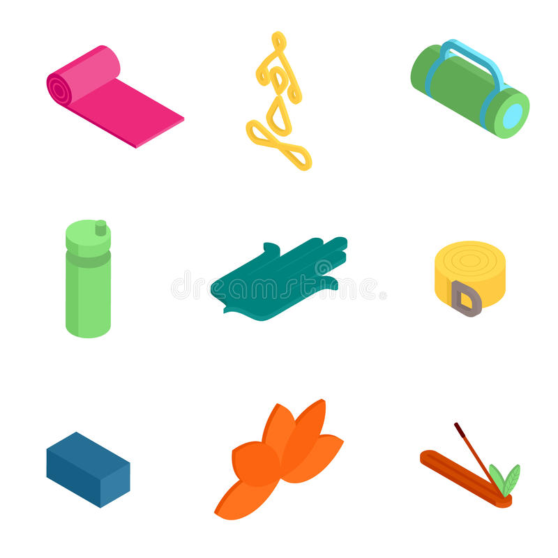 Isometriska yogasymboler vektor illustrationer