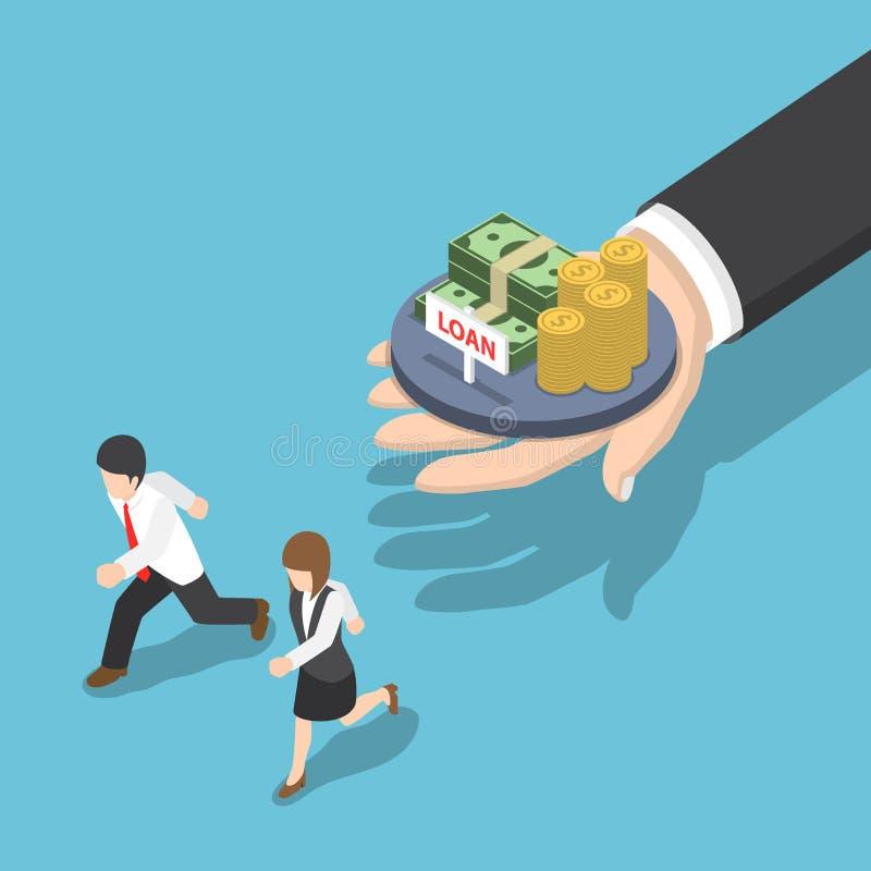 Isometriskt affärsfolk som kör i väg från lånerbjudande stock illustrationer