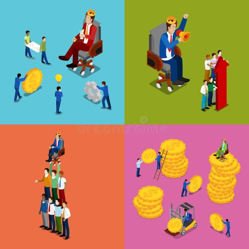 Isometriskt affärsfolk Team Work, pengarinvestering och finansiellt framgångbegrepp vektor illustrationer