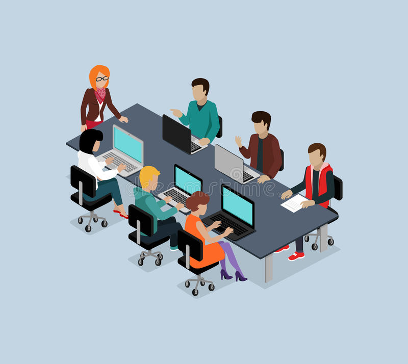 Isometriskt affärslag för teamwork 3d royaltyfri illustrationer