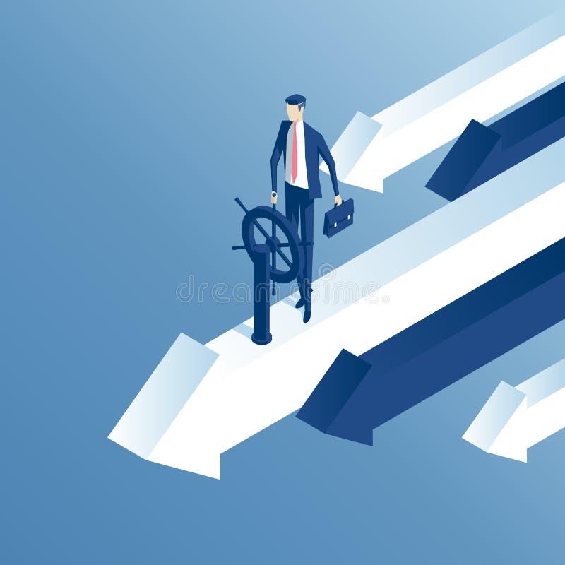 Isometriskt affärsman och hjul stock illustrationer