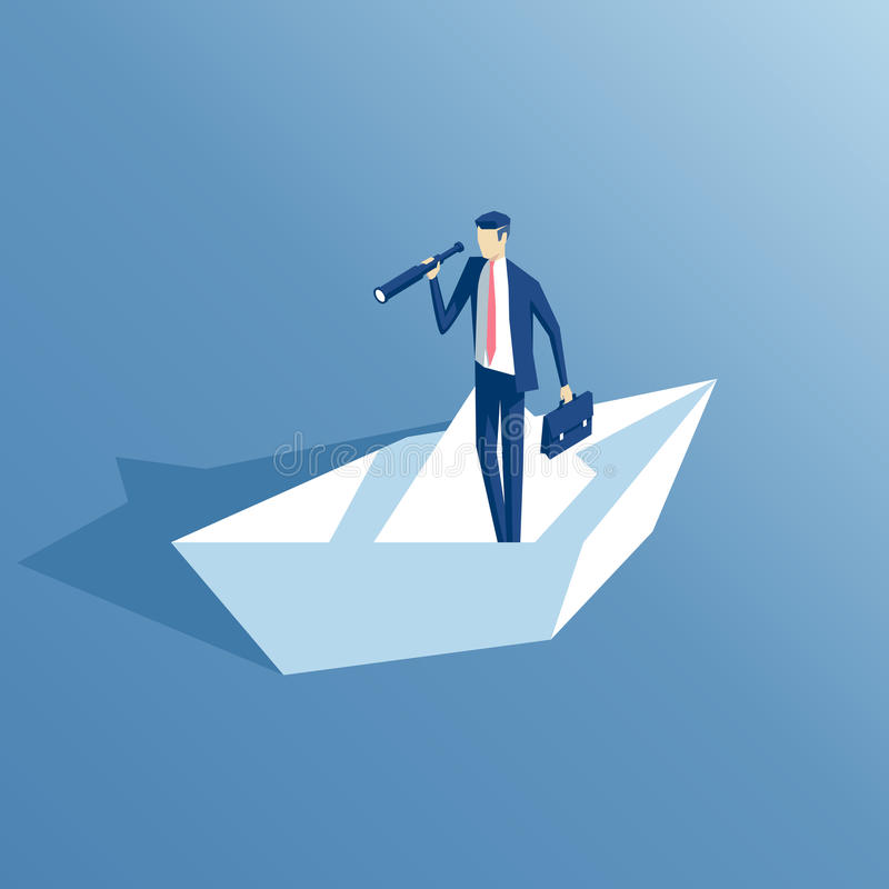 Isometriskt affärsman- och pappersfartyg stock illustrationer