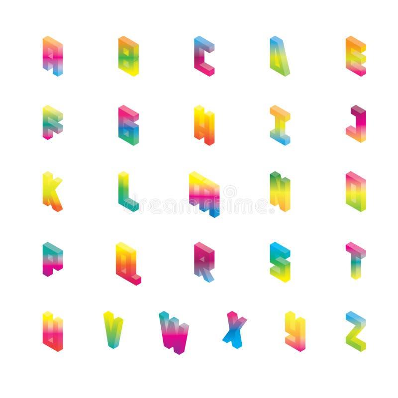 Isometriskt alfabet i ljusa färger för lutning Vektorsamlingsgoda för att märka och att skriva från engelska A till Z stock illustrationer