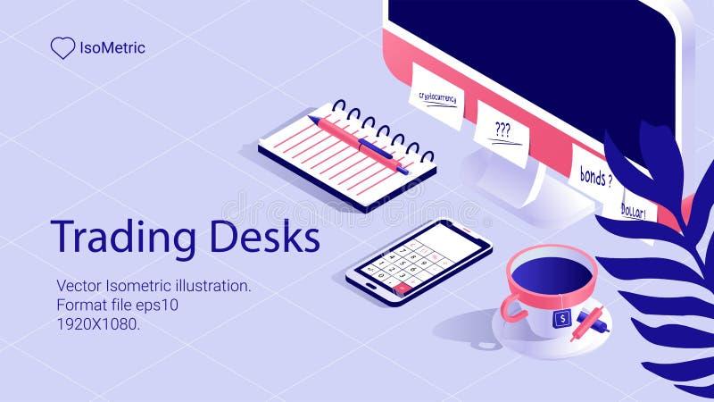 Isometriskt arbetsskrivbordbaner frilans- skrivbord vektor illustrationer