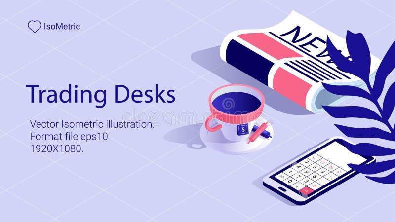 Isometriskt arbetsskrivbordbaner frilans- skrivbord royaltyfri illustrationer