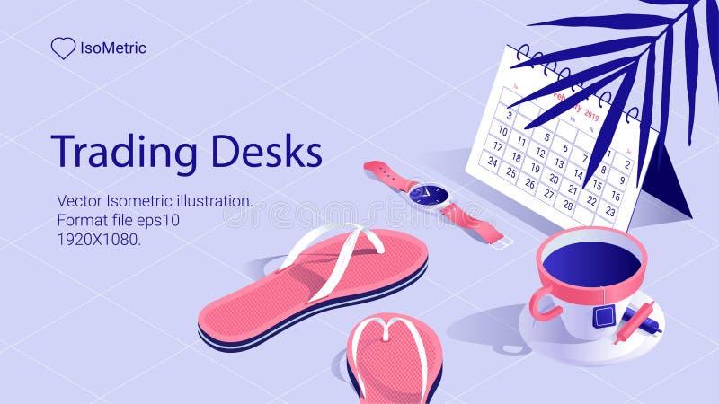 Isometriskt arbetsskrivbordbaner frilans- skrivbord stock illustrationer
