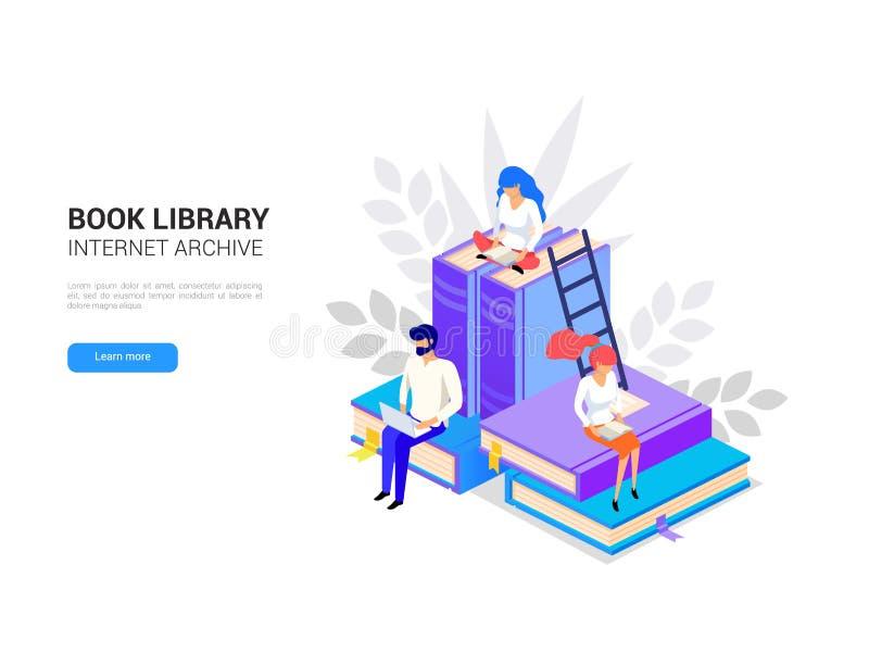 Isometriskt arkiv Online-utbildningsbaner 3d stock illustrationer