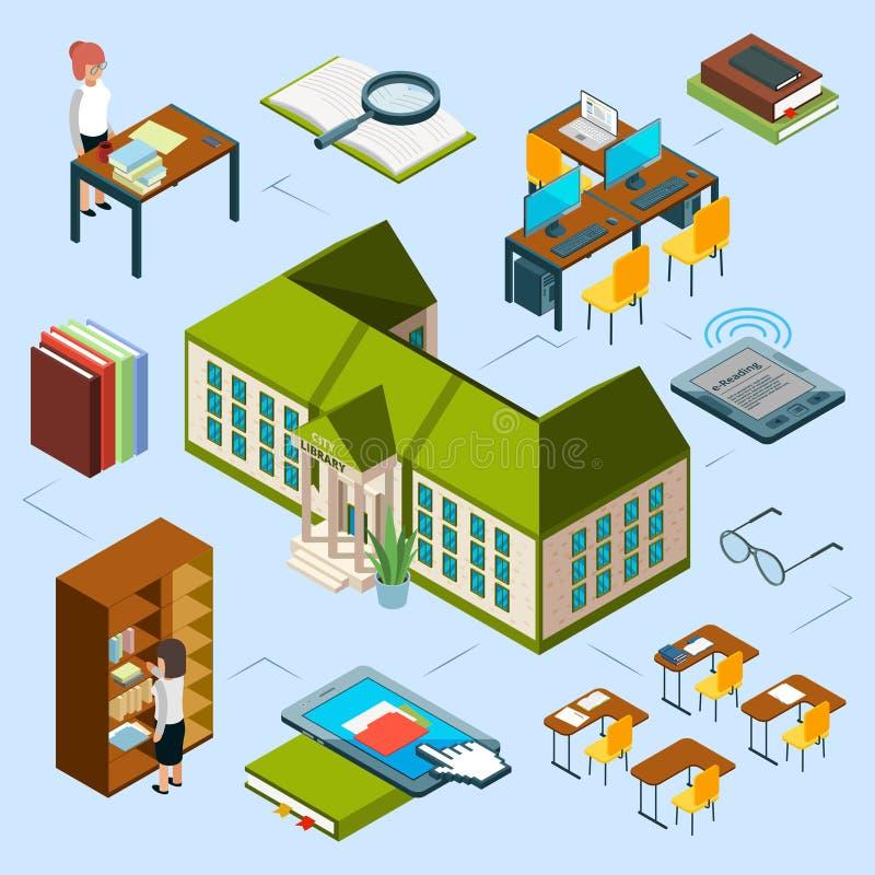 Isometriskt arkivvektorbegrepp byggnad för offentligt bibliotek 3D, datorområde, e-läsning böcker, bibliotekarier, bokhylla vektor illustrationer