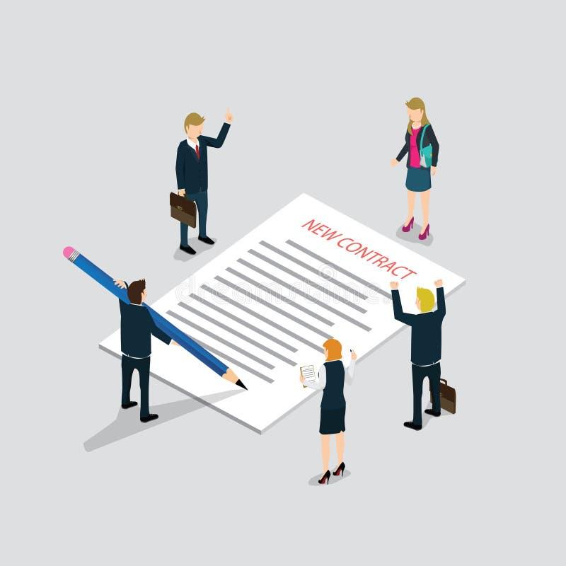 Isometriskt avtalshäfte för plan rengöringsduk 3d och tillfälligt mikroinformationsdiagram om folk vektor illustrationer