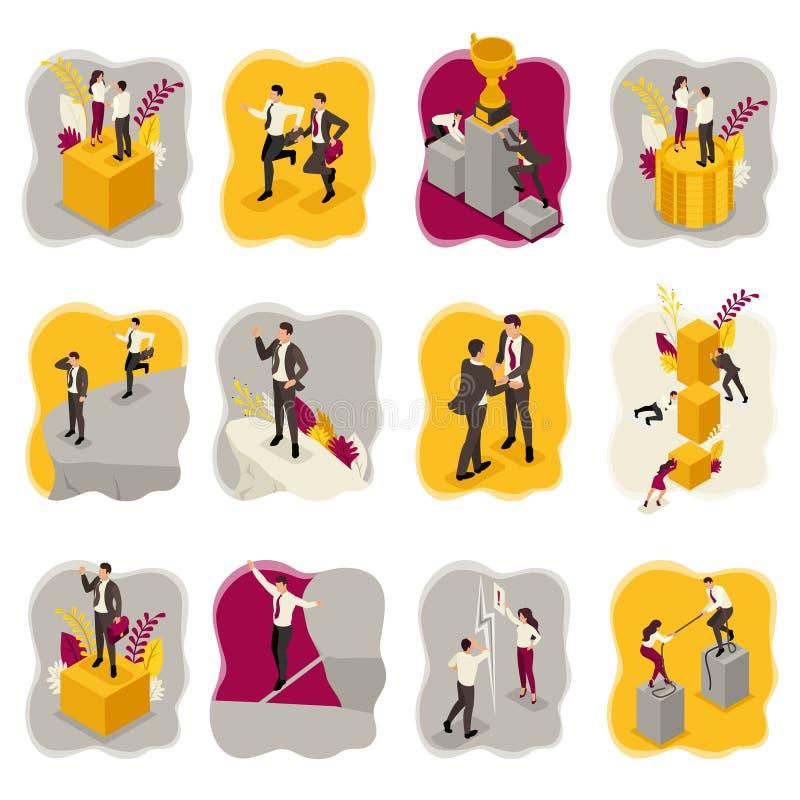 Isometriskt begrepp av affärsrisker, nedgång, konkurrens, konflikt, motsättning För website och mobil applikationdesign stock illustrationer