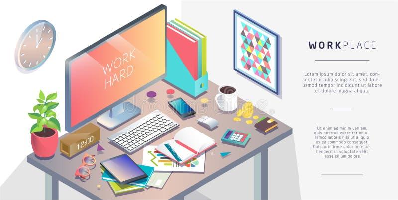 Isometriskt begrepp av arbetsplatsen med dator- och kontorsequipmen vektor illustrationer