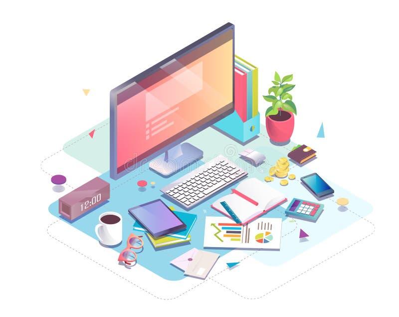 Isometriskt begrepp av arbetsplatsen med datoren och kontorsutrustning vektor illustrationer