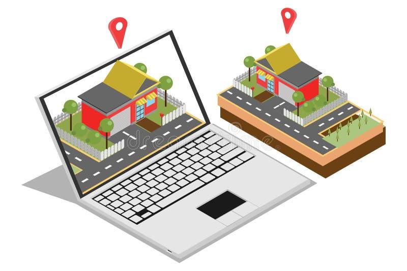 Isometriskt begrepp av att sälja en hem- online-marknadsföring för rengöringsdukbaner som isoleras i vit bakgrund, vektorillustra vektor illustrationer