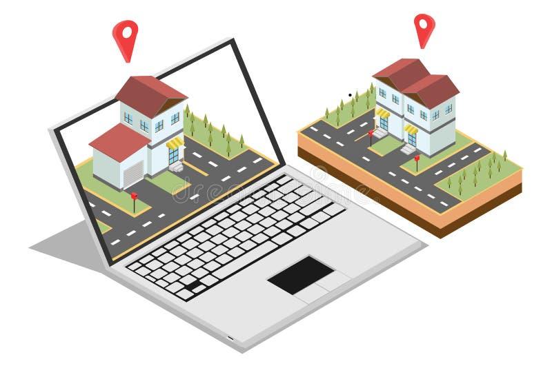 Isometriskt begrepp av att sälja en hem- online-marknadsföring för rengöringsdukbaner som isoleras i vit bakgrund, vektorillustra royaltyfri illustrationer