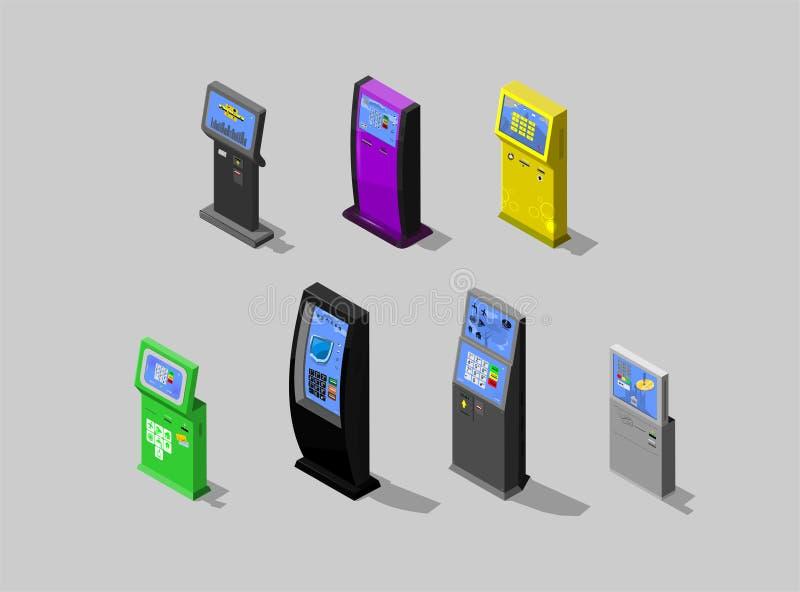 Isometriskt begrepp av betalningterminalen, växelverkande kiosk, vektordesign vektor illustrationer