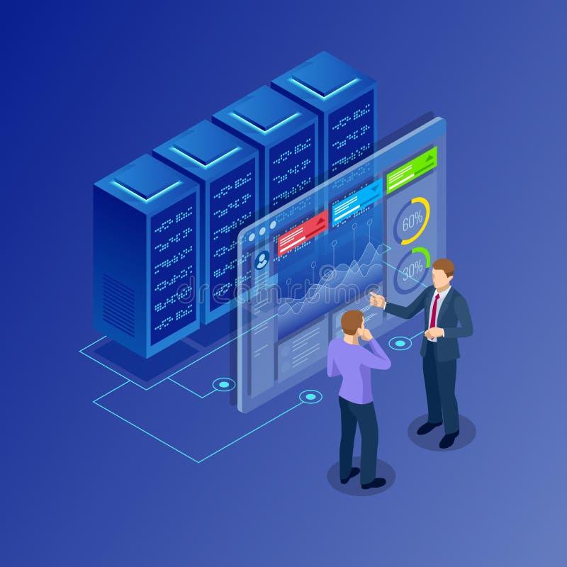 Isometriskt begrepp av datanätverksledning Businessmans i datorhallrum Varande värd server och datordatabas royaltyfri illustrationer