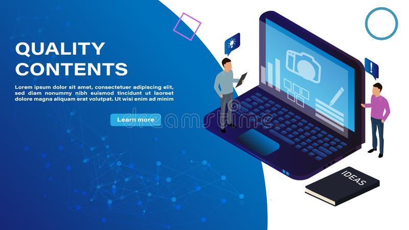 Isometriskt begrepp av det kvalitets- innehållet som dekoreras med folkteckenet för website och mobil websiteutveckling royaltyfri illustrationer